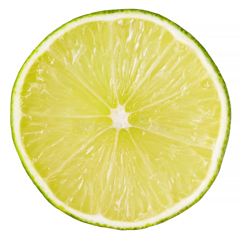 Slice of lime isolated on white royalty free stock photos