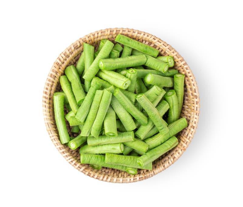 Slice long beans in basket on white background. top view. Slice long beans in basket isolated on white background. top view royalty free stock photos