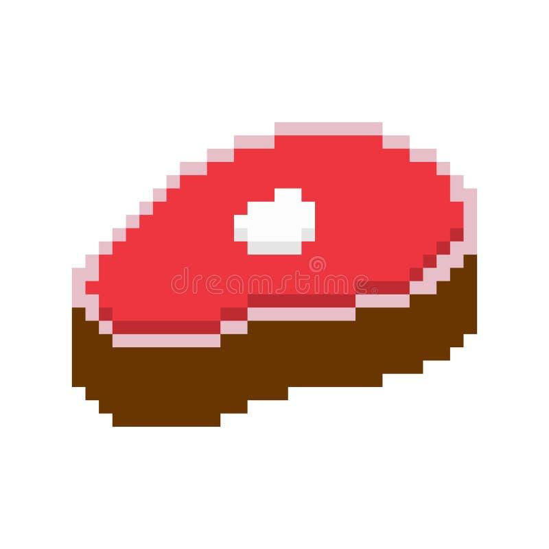 Slice meat pixel art. pork on bone 8 bit. Piece of Beef beefsteak Old school games graphics.  vector illustration