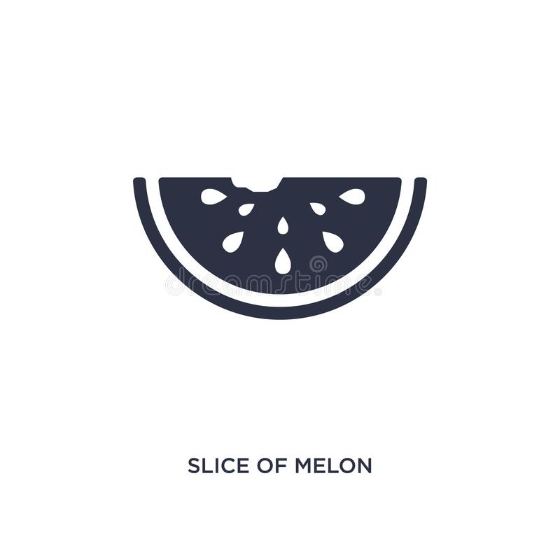 Slice of melon icon on white background. Simple element illustration from summer concept. Slice of melon isolated icon. Simple element illustration from summer royalty free illustration