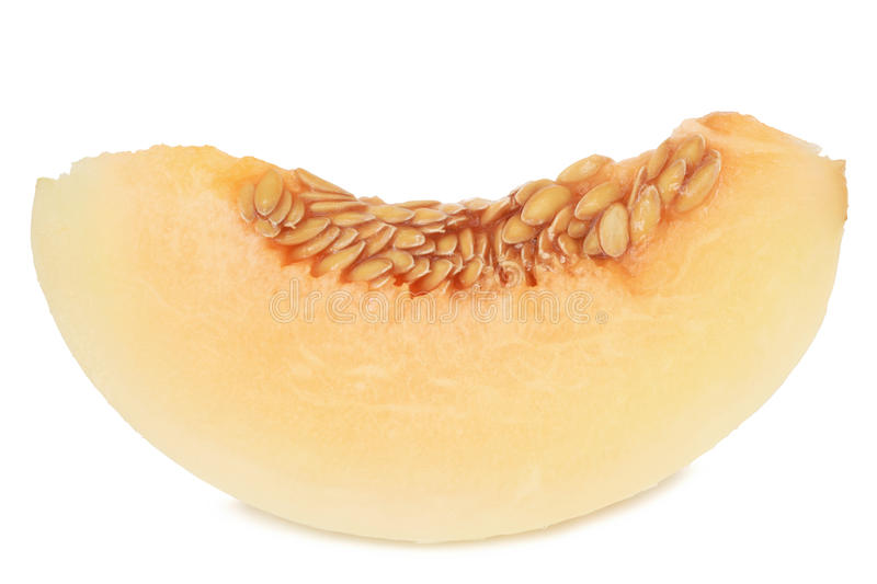Slice of melon. On white background stock photography