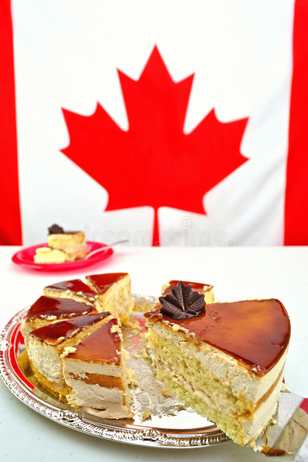 Free Slice Of Maple Mousse Cake For Canada Day Celebrations Royalty Free Stock Images - 69956759