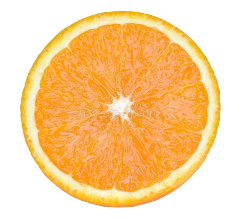 Slice of orange fruit isolated on white backdround. Slice of orange fruit isolated on white background stock photography