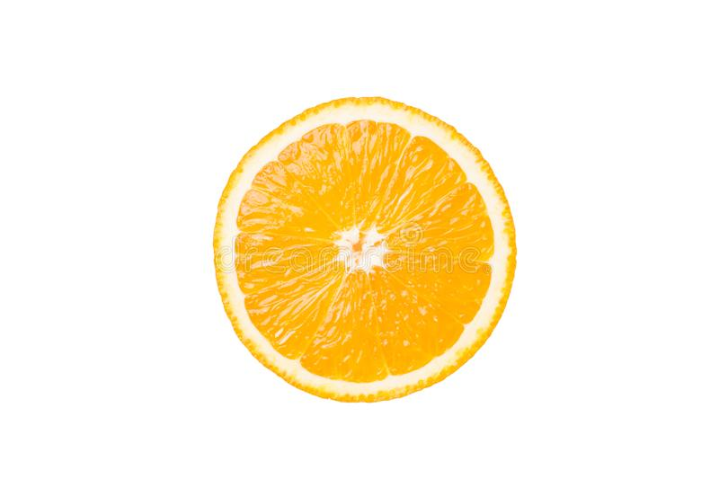 Slice orange isolated on white background with clipping path royalty free stock photography