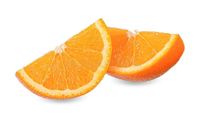 Slice orange isolated on white clipping path stock photography