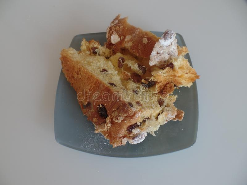 Slice of panettone Christmas cake royalty free stock images
