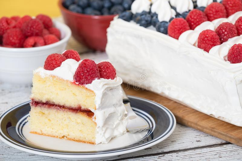 A slice of patriotic, red white and blue, flag cake royalty free stock photography
