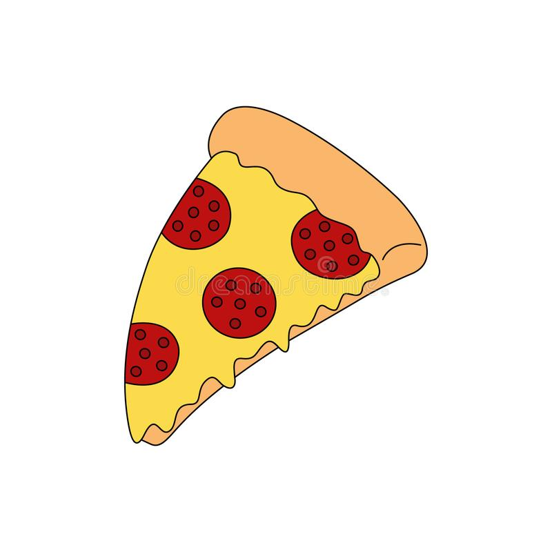 Slice of pepperoni pizza vector drawing royalty free illustration
