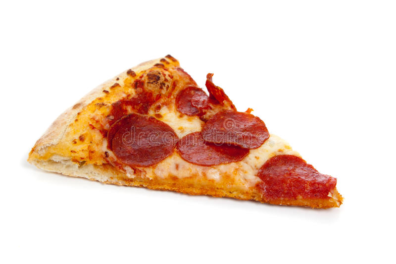 A slice of Pepperoni pizza on white. A slice of Pepperoni pizza on a white background