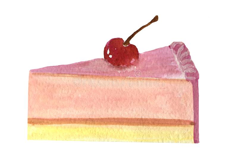 A slice of pink cheesecake with a cherry. vector illustration