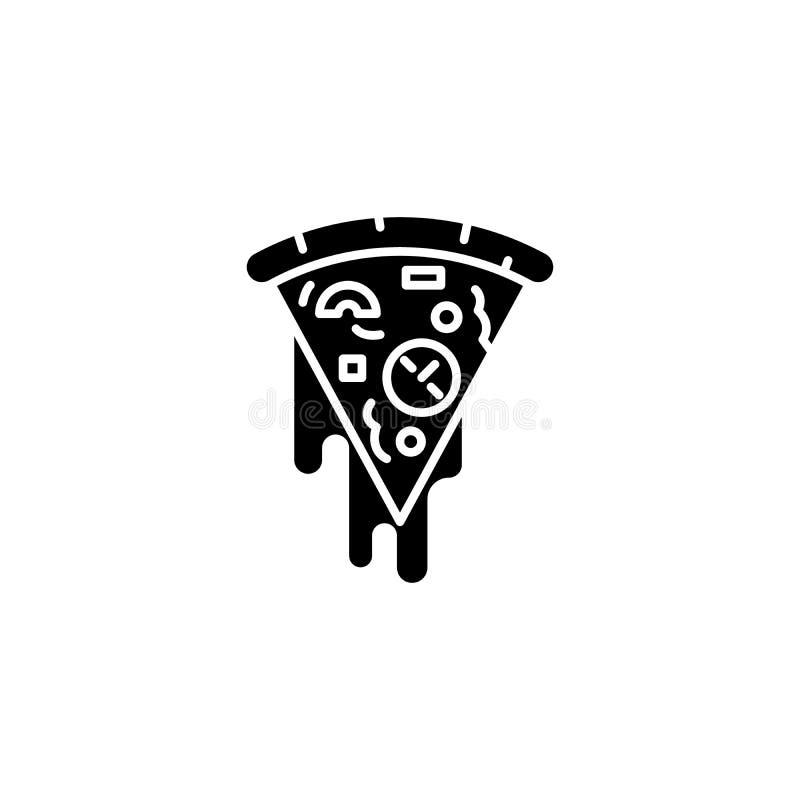 Slice of pizza black icon concept. Slice of pizza flat vector symbol, sign, illustration. Slice of pizza black icon concept. Slice of pizza flat vector website stock illustration