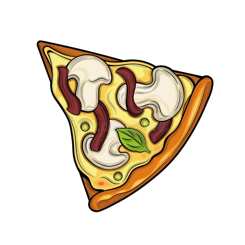 Slice of pizza. Champignon, ham, peas, cheese. Illustration. Isolated images on white background. Vintage style royalty free illustration