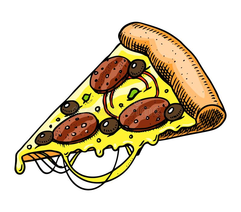 A slice of pizza. Fast food in vintage style. Hand drawn illustration for a label or badge. A slice of pizza. Fast food in vintage style. Hand drawn stock illustration
