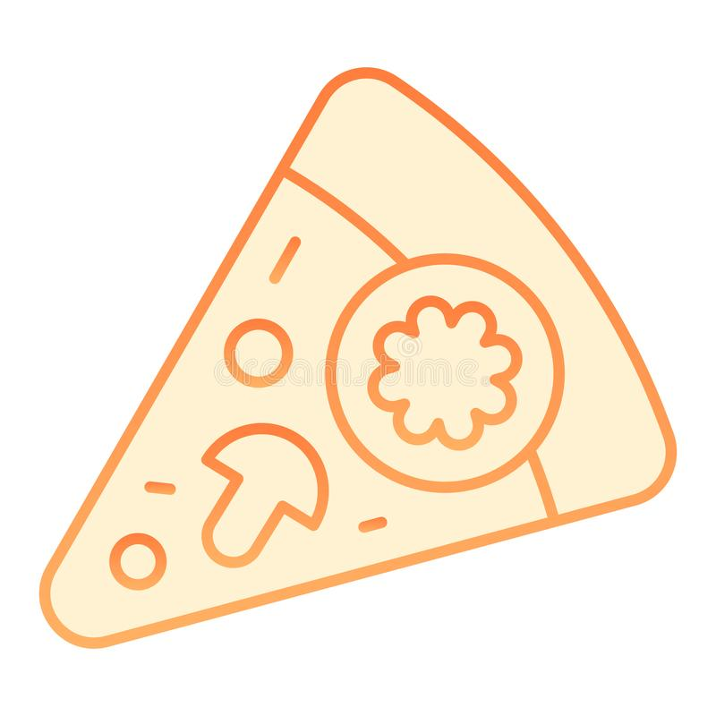 Slice of pizza flat icon. Pizza with mushrooms orange icons in trendy flat style. Fast food gradient style design vector illustration