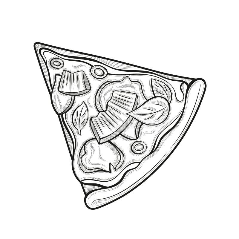 Slice of pizza. Ham, olives, cheese, pineapple. Illustration. Isolated images on white background. Vintage style royalty free illustration