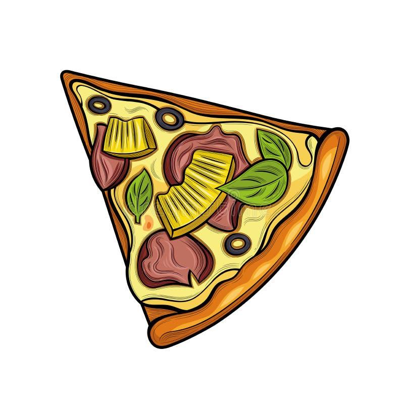 Slice of pizza. Ham, olives, cheese, pineapple. Illustration. Isolated images on white background. Vintage style stock illustration