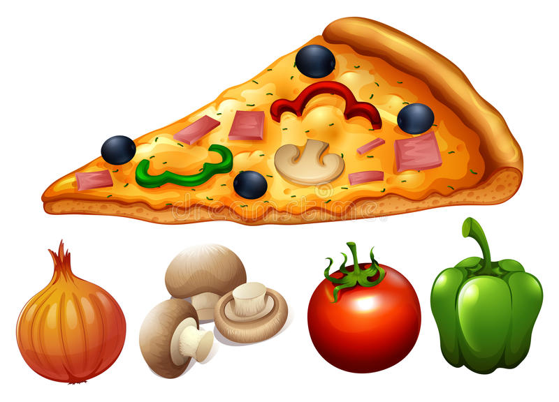 Slice of pizza and ingredients vector illustration