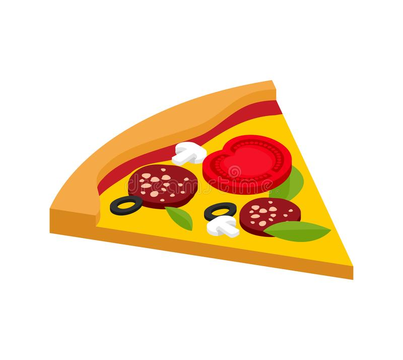 Slice of pizza isometric style isolated. Fast food vector illustration.  royalty free illustration