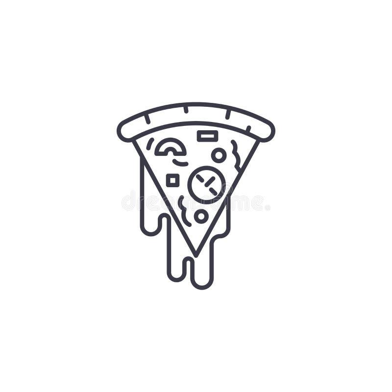 Slice of pizza linear icon concept. Slice of pizza line vector sign, symbol, illustration. Slice of pizza line icon, vector illustration. Slice of pizza linear royalty free illustration
