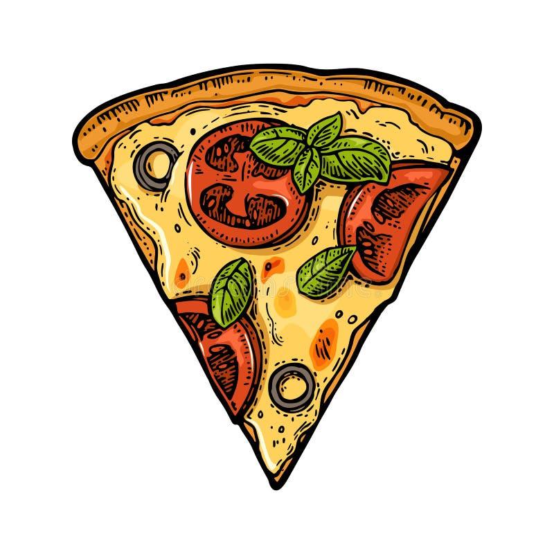 Slice pizza margherita. Vintage vector engraving illustration for poster, menu, box. Slice pizza margherita. Vintage vector color engraving illustration for stock illustration