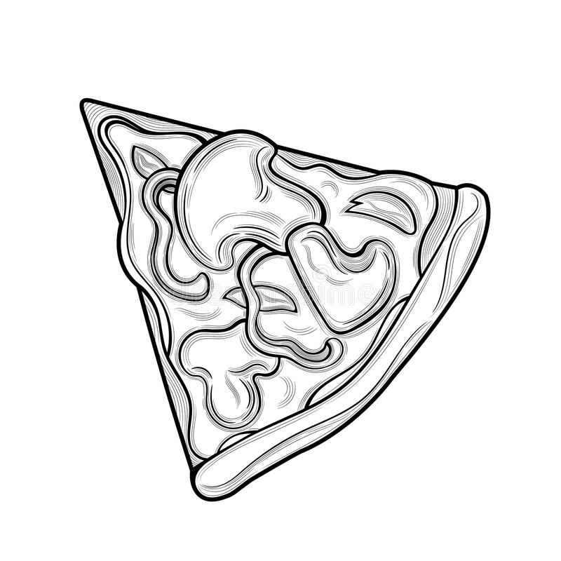 Slice of pizza. Mushrooms, chicken, pepper, cheese. Illustration. Isolated images on white background. Vintage style royalty free illustration