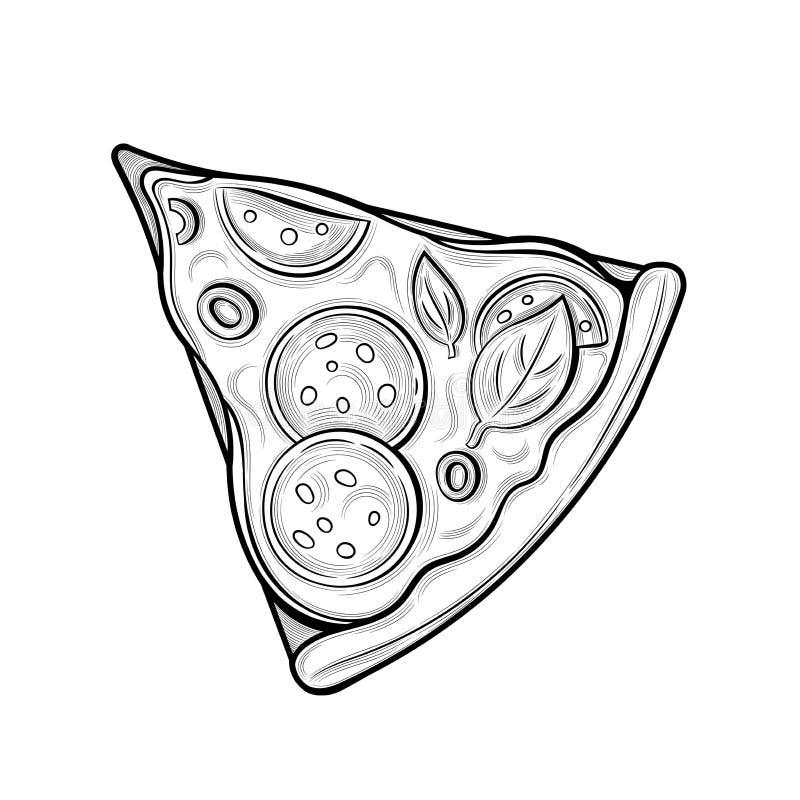 Slice of pizza. Sausage, olives, cheese. Illustration. Isolated images on white background. Vintage style royalty free illustration