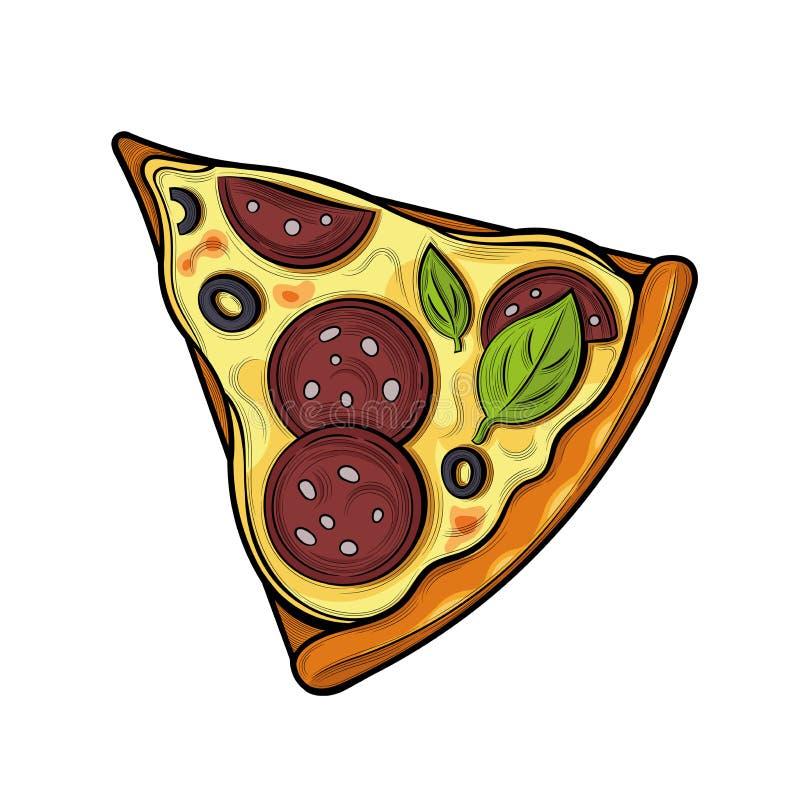 Slice of pizza. Sausage, olives, cheese. Illustration. Isolated images on white background. Vintage style stock illustration