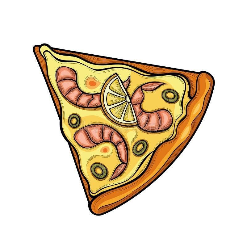 Slice of pizza. Shrimp, olives, lemon, cheese. Illustration. Isolated images on white background. Vintage style stock illustration