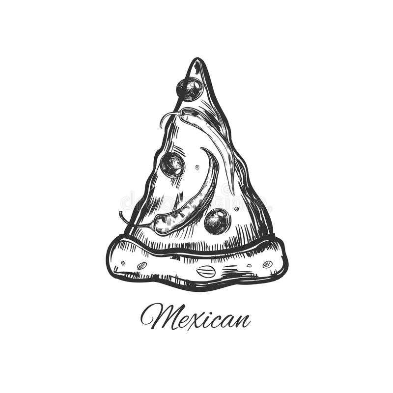 Slice of Pizza 5. Slice of Pizza. Vector hand drawn. Sketch style royalty free illustration