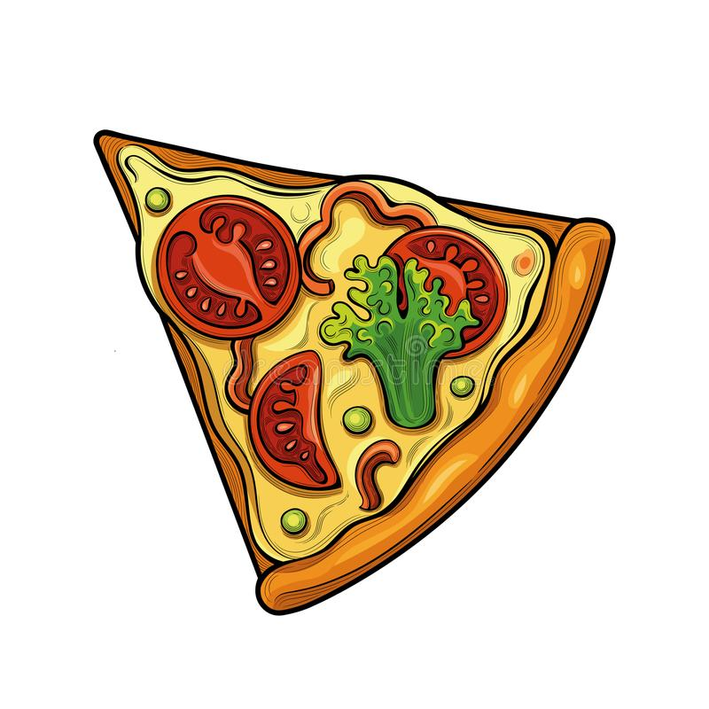 Slice of pizza. Tomatoes, broccoli, peas, cheese. Illustration. Isolated images on white background. Vintage style royalty free illustration