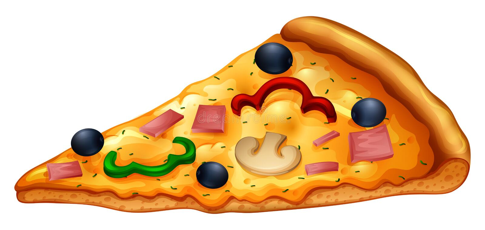 Slice of pizza on white stock vector. Illustration of ...