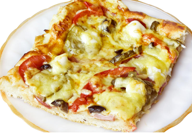 A slice of pizza on a white plate royalty free stock photography