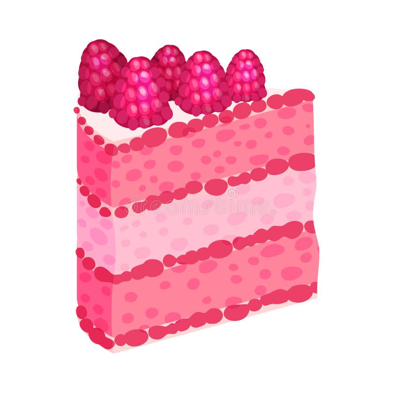 Slice of puff pink slice of cake. Vector illustration on a white background. Slice of puff pink slice of cake. Decorated with raspberries. Vector illustration royalty free illustration