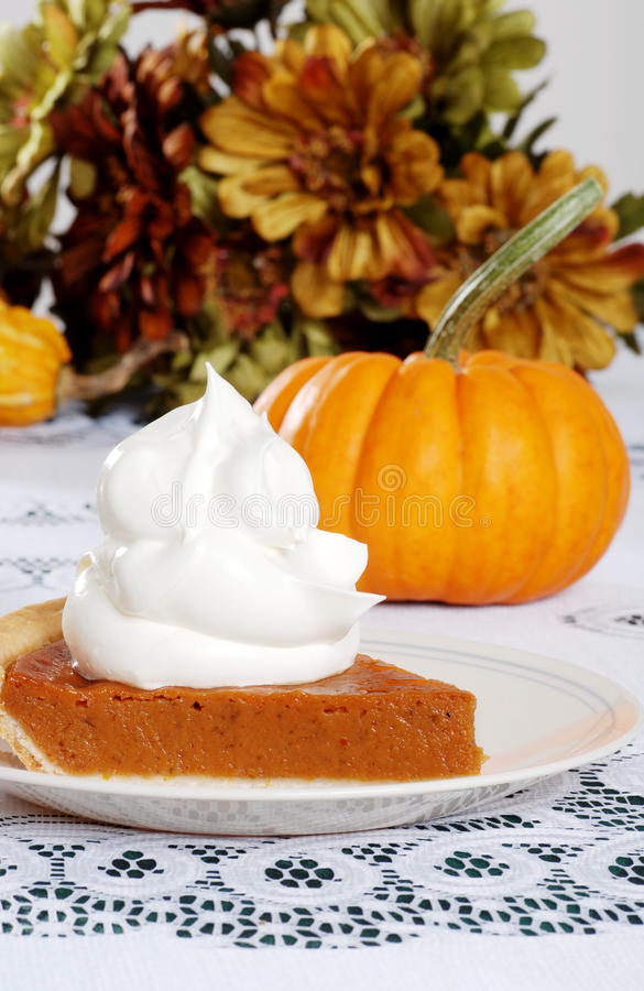 Slice Pumpkin Pie With Lots Of Whip Cream Stock