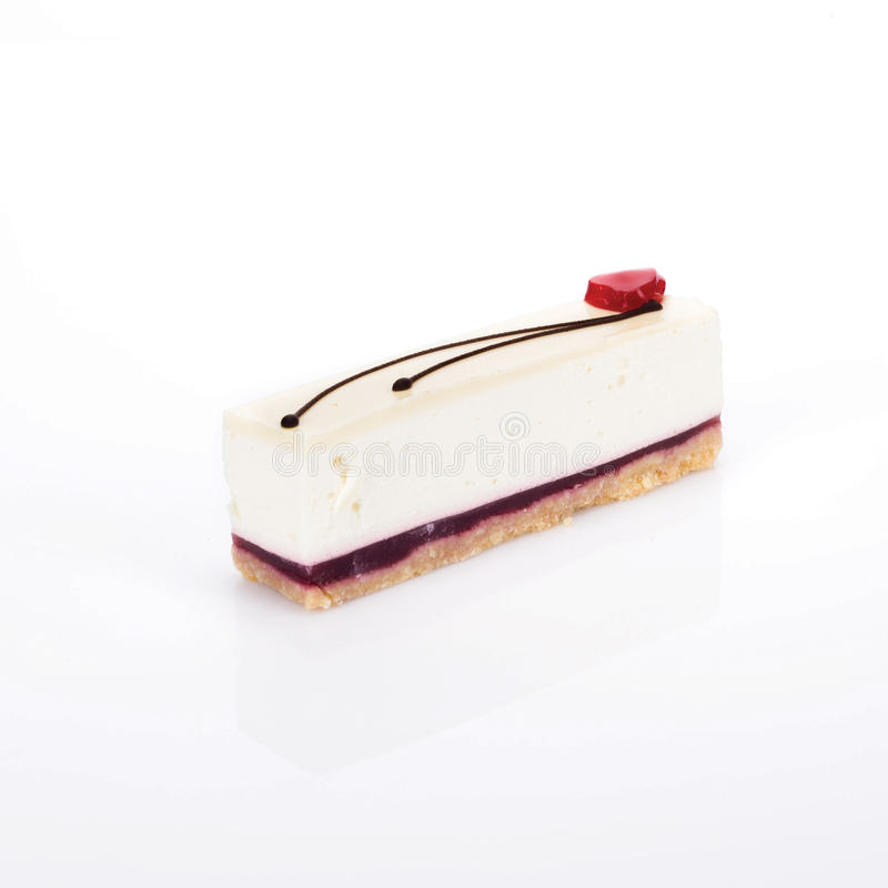 A slice of raspberry cheesecake royalty free stock image