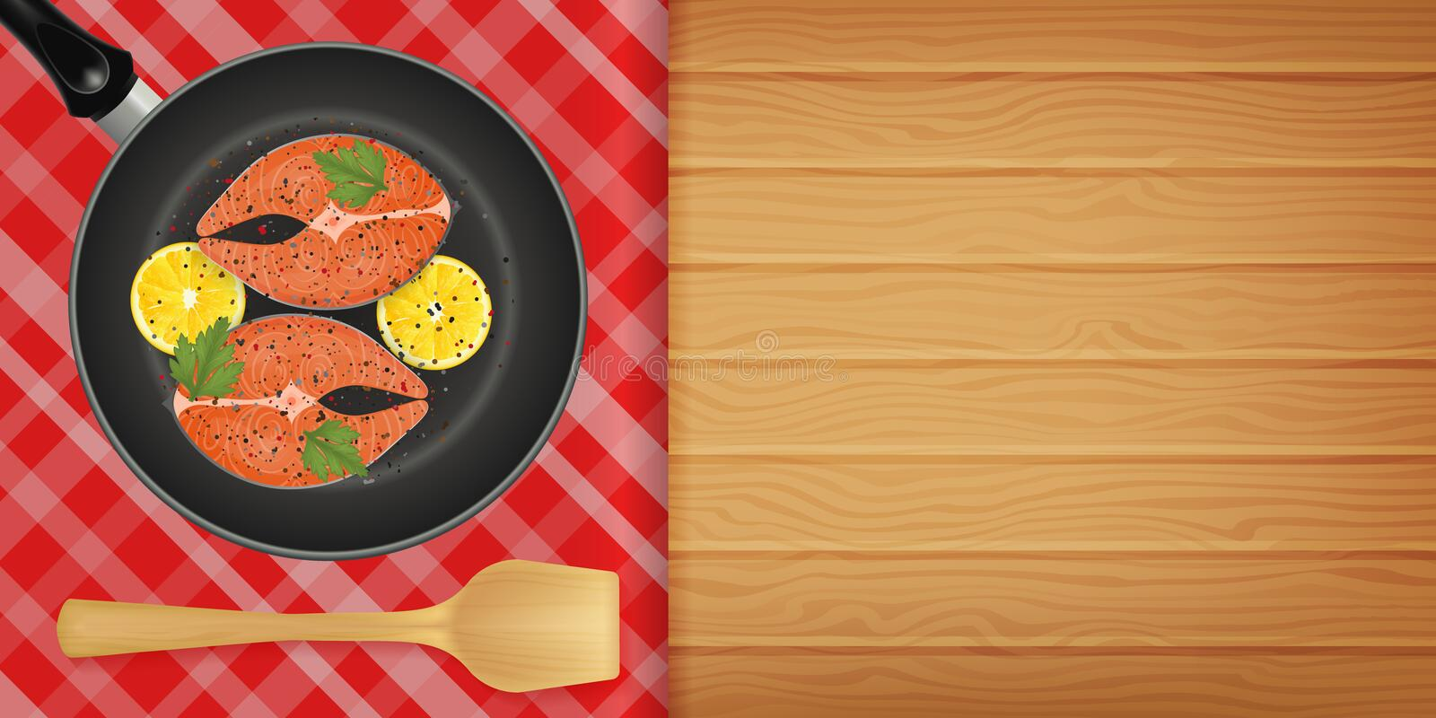Slice of red fish with lemon on frying pan on wood back. Ground. Horizontal flyer. Object for packaging, advertisements, menu. Vector illustration. Realistic vector illustration