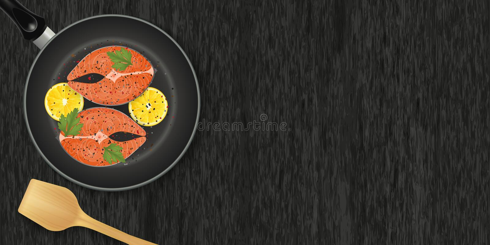 Slice of red fish with lemons on frying pan on wood. Black background. Horizontal flyer. Object for packaging, advertisements, menu. Vector illustration vector illustration