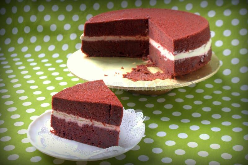 Slice Red Velvet Cake stock photography