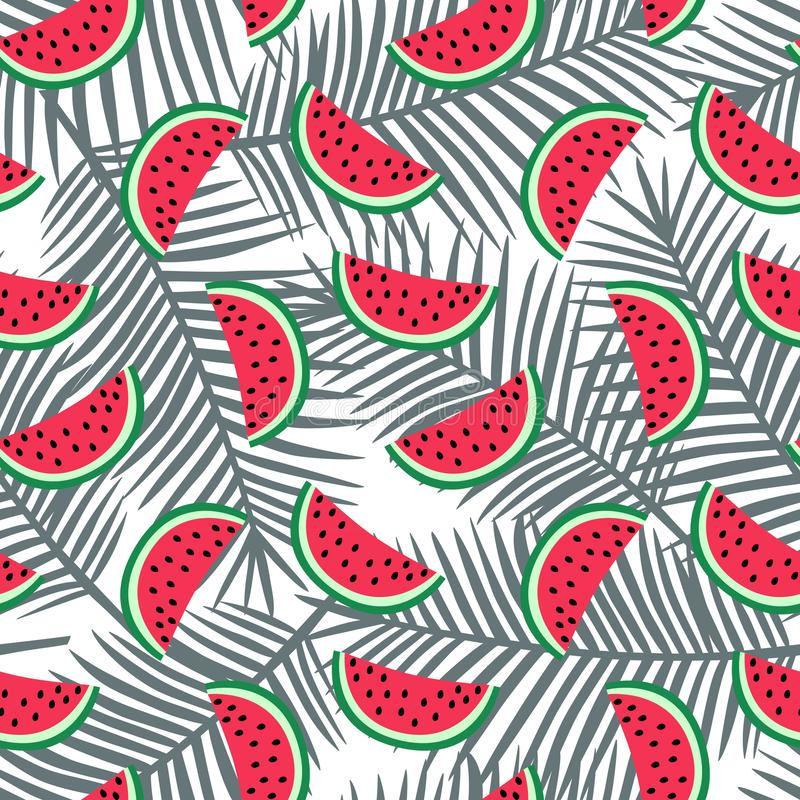 Slice of red watermelon on a gray palm leaves background pattern stock photography
