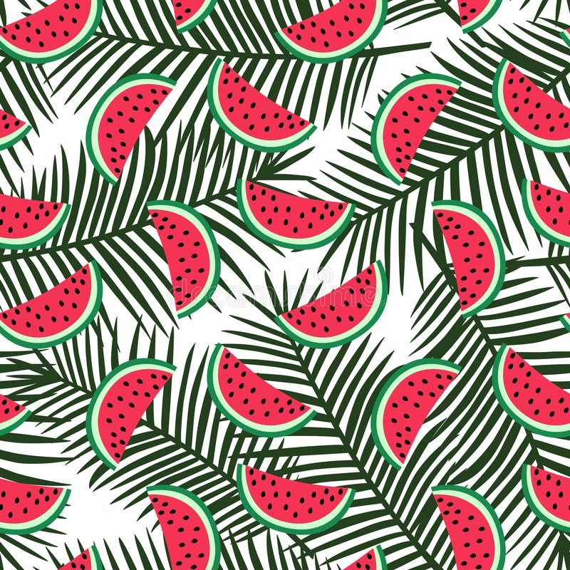 Slice of red watermelon on a green palm leaves background patter stock illustration