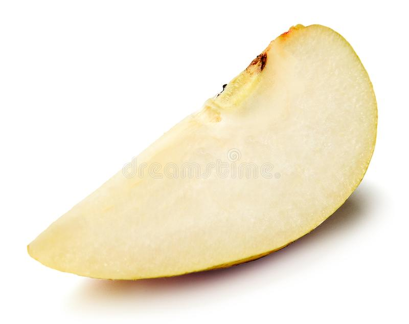 Slice of ripe fresh pear on white isolated background. Close-up. stock image