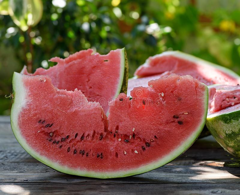 Slice of ripe red watermelon with seeds stock photo