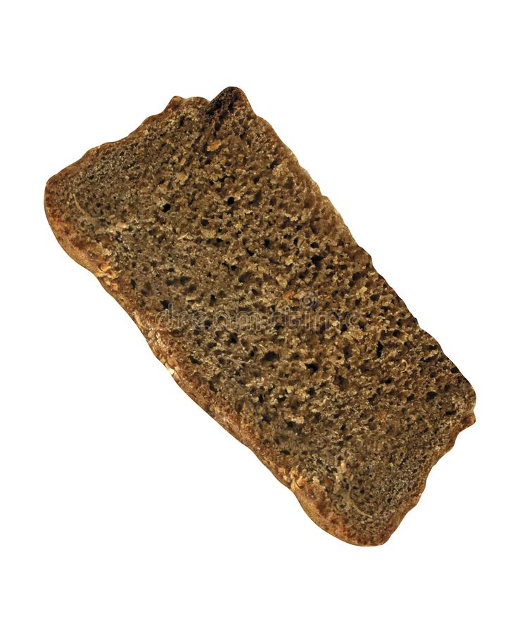 Slice of rye bread on white stock photo