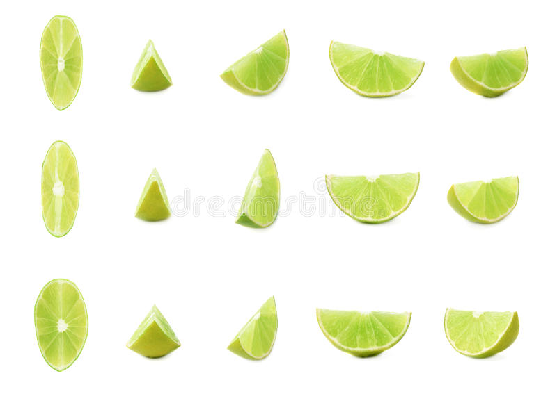 Slice section of lime isolated over the white background, set of different foreshortenings royalty free stock photo