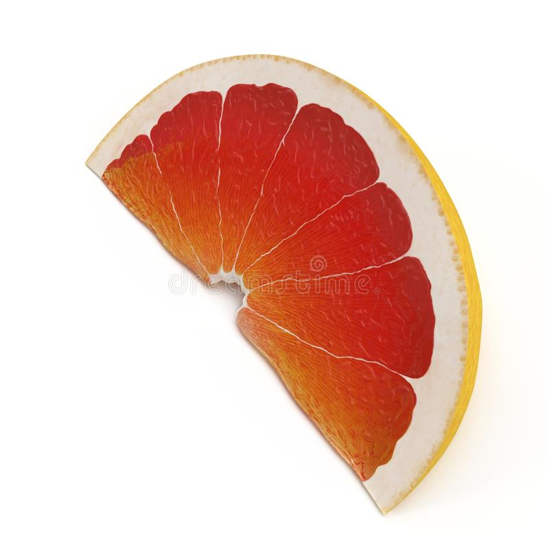 Slice section of ripe grapefruit isolated over the white. 3D illustration. Slice section of ripe grapefruit isolated over the white background. 3D illustration stock illustration