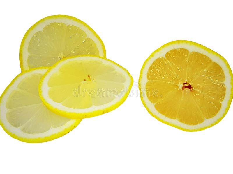 Slice of sliced lemon on a white background royalty free stock photography