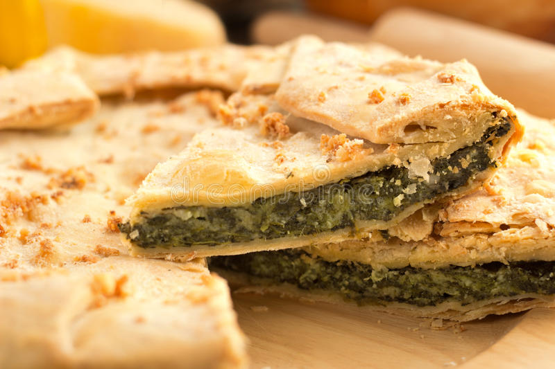 Slice of spinach pie royalty free stock images