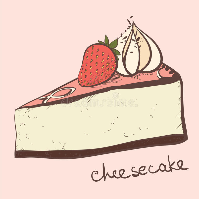 A slice of strawberry cheesecake. With cream vector illustration