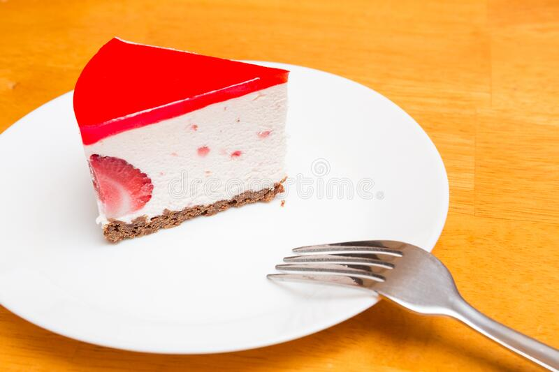 Strawberry Mousse Cake Slice royalty free stock images