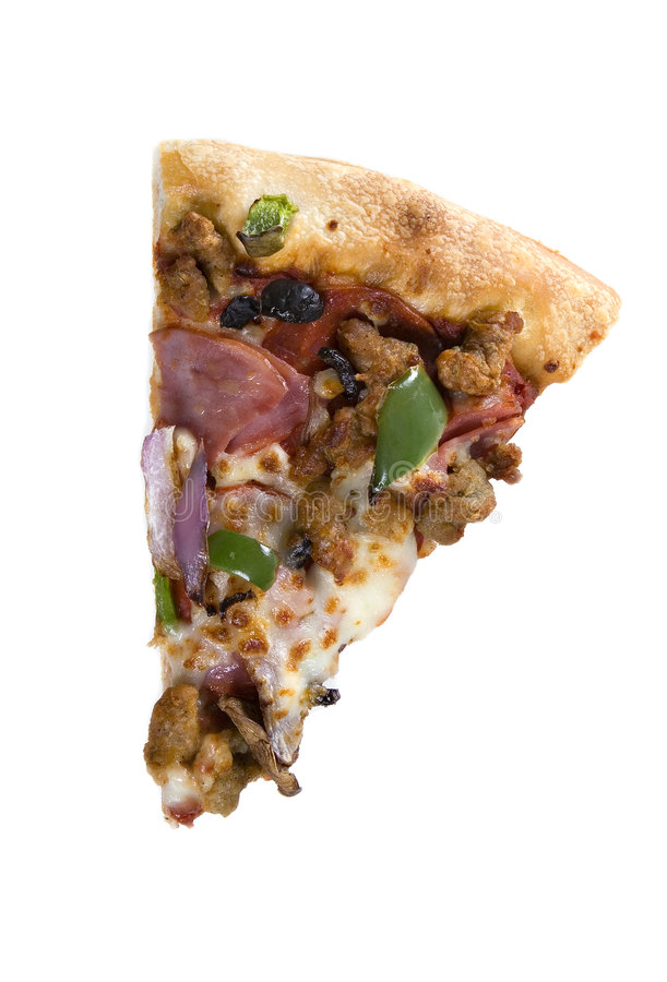 Slice of supreme pizza. On isolated background royalty free stock photography